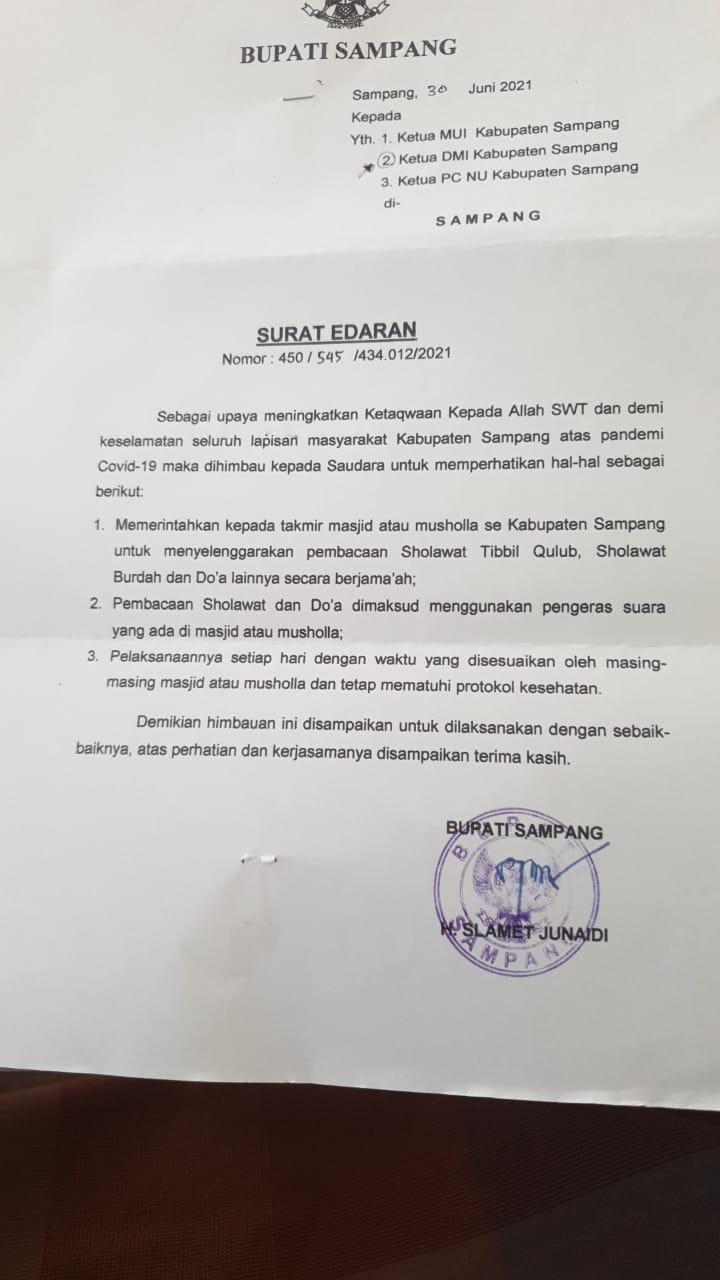 Surat Edaran Bupati Sampang